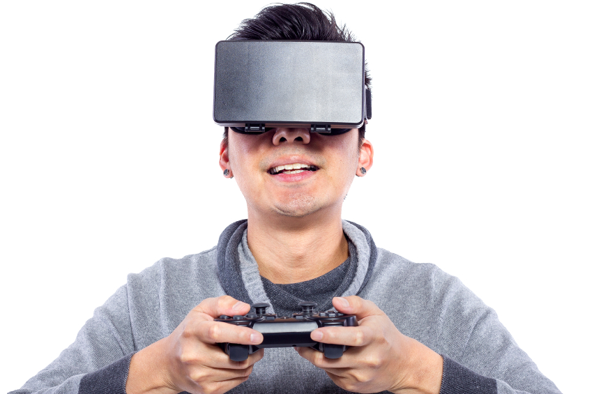 Close Up of Man Wearing VR Goggles