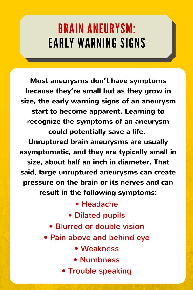 brain aneurysm warning signs