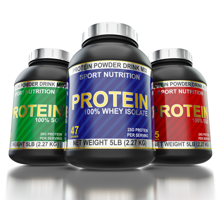 Bodybuilding protein supplements isolated on white background